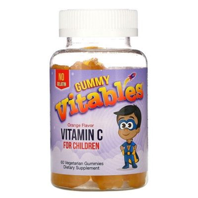 Vitables, علكة فيتامين جـ للأطفال، بنكهة البرتقال، 60 علكة نباتية